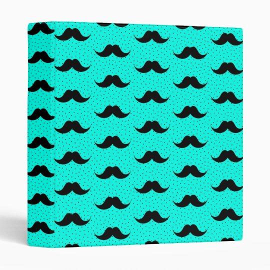 Moustaches Pattern Aqua Vinyl Binders