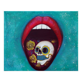 Mouth Full Of Sugar Skull Poster
