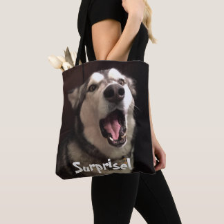 Mouth Open Alaskan Malamute Close-Up Photograph Tote Bag
