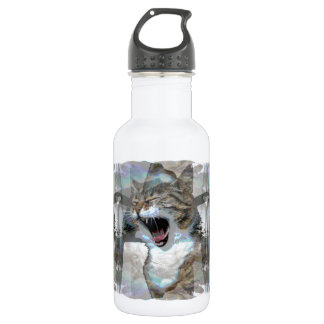 Mouthy Cat on Water Bottle