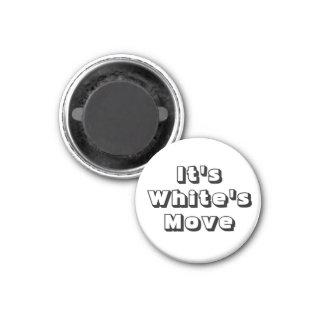 Mouvement du blanc de ~ d'aimant de réfrigérateur  magnet carré 2,50 cm