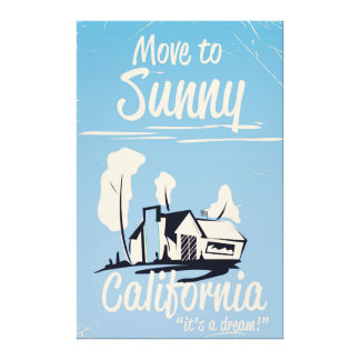 Move to sunny California vintage poster Canvas Print