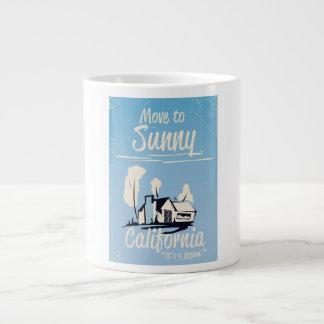 Move to sunny California vintage poster Large Coffee Mug