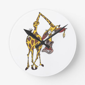 moved merry giraffe with earring wallclock