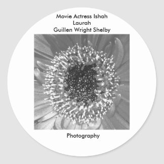 Movie Actress Ishah Black and White Photography Round Sticker