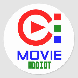 movie addict round sticker