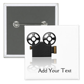 Movie Camera in Black and Gold on White 2 Inch Square Button