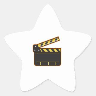 Movie Camera Slate Clapper Board Open Retro Star Sticker