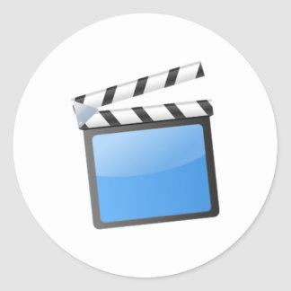 Movie Clapper Board Round Stickers