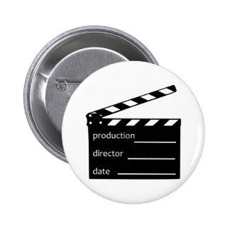 Movie clapper pinback buttons
