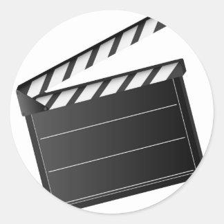 Movie Clapper Round Sticker