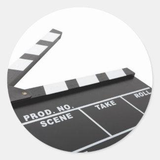 movie clapperboard, action! round sticker