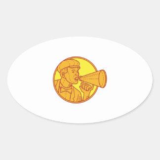 Movie Director Megaphone Vintage Circle Mono Line Oval Sticker