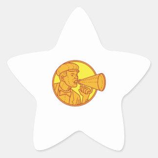 Movie Director Megaphone Vintage Circle Mono Line Star Sticker