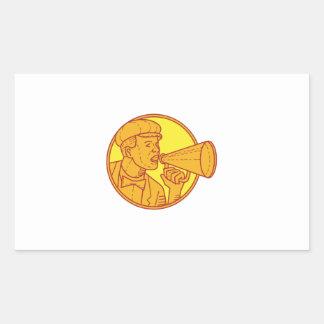 Movie Director Megaphone Vintage Circle Mono Line Sticker