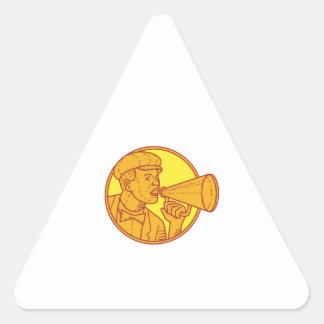 Movie Director Megaphone Vintage Circle Mono Line Triangle Sticker