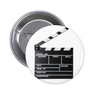 movie film clapperboard pinback button