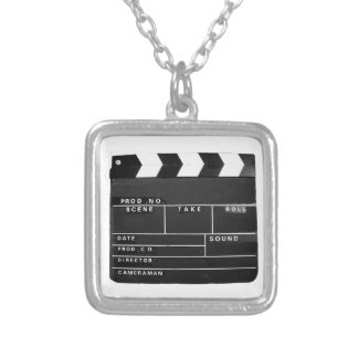movie film video makers Clapper board design Silver Plated Necklace