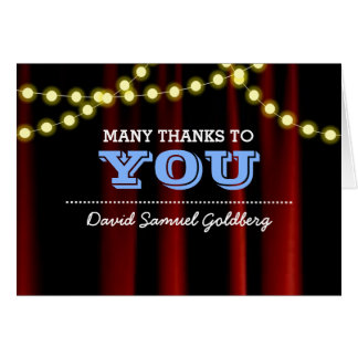 Movie Lights Blue Bar Mitzvah Thank You Note Card