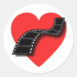 Movie Lover with Red Heart and Film Strip Round Sticker