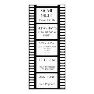 Movie Night Birthday Party Admission Ticket Card