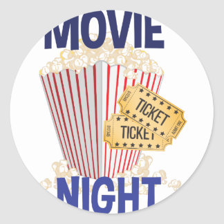 Movie Night Classic Round Sticker