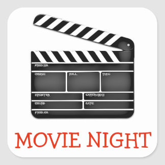 Movie Night Cut Sign Birthday Party Stickers