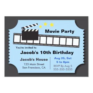 "Movie Night Party, Birthday Party 4.5"" X 6.25"" Invitation Card"