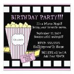 "Movie Night Popcorn Film Strip Party In Pink 5.25"" Square Invitation Card"