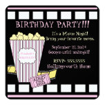 "Movie Night Popcorn Film Strip Pink Girls Party 5.25"" Square Invitation Card"