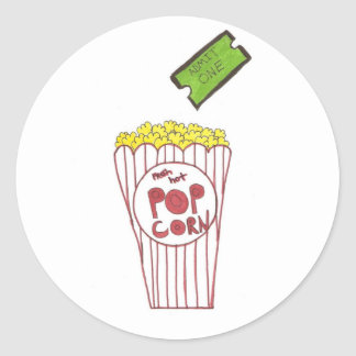 Movie Night Round Sticker