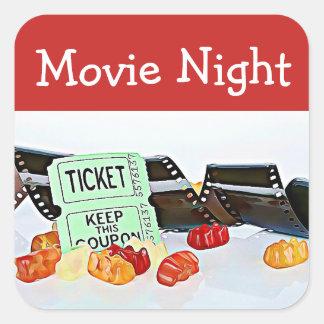 Movie Night Theater Birthday Party Stickers
