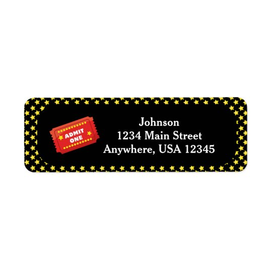 Movie Night Theme | Admit One Ticket  Personalized Return Address Label