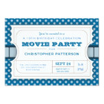 "Movie Party Birthday Party Admission Ticket | Blue 5"" X 7"" Invitation Card"