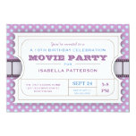 "Movie Party Birthday Party Admission Ticket Purple 5"" X 7"" Invitation Card"