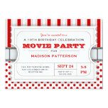 "Movie Party Birthday Party Admission Ticket | Red 5"" X 7"" Invitation Card"