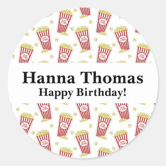 Movie Popcorn Birthday Classic Round Sticker