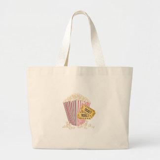 Movie Popcorn Large Tote Bag