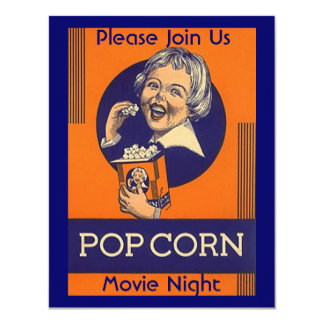 MOVIE & POPCORN PARTY INVITATION HOME THEATER NITE