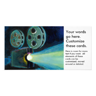 Movie projector colorful expressive painting art customized photo card