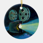 Movie projector colourful expressive painting art round ceramic ornament
