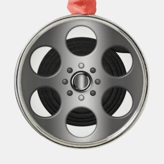 Movie Reel Silver-Colored Round Ornament