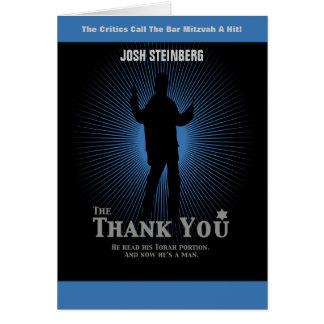 Movie Star Bar Mitzvah in Black Blue Thank You Card