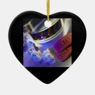 Movie Theater Film, Popcorn & Tickets Ceramic Heart Ornament