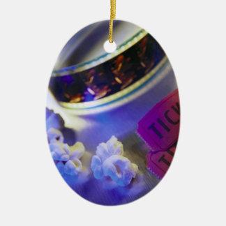 Movie Theater Film, Popcorn & Tickets Ceramic Oval Ornament