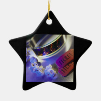 Movie Theater Film, Popcorn & Tickets Double-Sided Star Ceramic Christmas Ornament