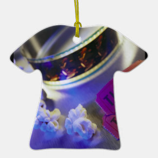 Movie Theater Film, Popcorn & Tickets Double-Sided T-Shirt Ceramic Christmas Ornament