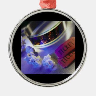 Movie Theater Film, Popcorn & Tickets Silver-Colored Round Ornament