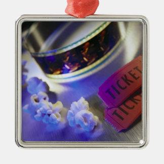 Movie Theater Film, Popcorn & Tickets Silver-Colored Square Ornament