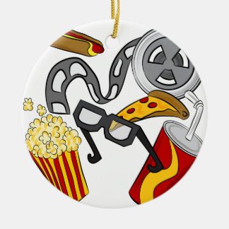 Movie Theater Objects Round Ceramic Ornament